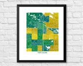 Fort Collins Colorado Art Map Print.  Choose your colors and size.  Map of Ft. Collins, home to the Colorado State University Rams.