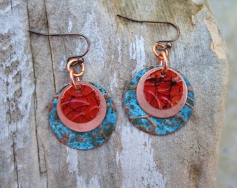 Patina Copper Earrings, Boho Earrings, Boho Jewelry, Colorful Copper Earrings, Boho
