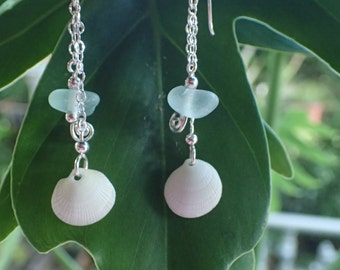 Sea glass and scallop shell earrings