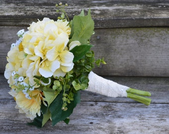 Yellow Hydrangea Gerber Daisy Babys Breath Eucalyptus Bridesmaid Flower Bouquet for Rustic Lace Country Wedding  Ivory Lace Ribbon