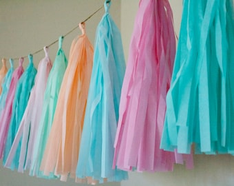 SUGAR COOKIE / tissue paper tassel garland / pastel decorations / birthday garland / wedding decorations / paper party decorations