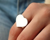 Sterling Heart Ring, Silver Heart Ring, Statement Ring, Sterling Silver, Love, Silver Heart, Heart Band Ring, Anniversary Ring, Love Ring