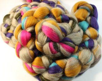 Merino and Blue Faced Leicester -  Custom Blended Wool Top Roving For Spinning & Felting  - Gypsy