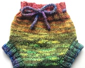 Diaper Cover  Wool - Hand dyed Earthy Rainbow Medium Baby Handknit Wool Soaker  with Knit Drawstring