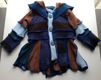 Brown and Blue Recycled Wool Buttoned Sweater Coat for a Toddler