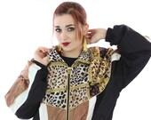 90s Leopard Jacket Vintage Windbreaker Hip Hop Gold Workout Coat 80s Animal Cheetah Big Cats Medium M Small S