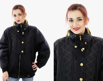 Hip Hop Ski Jacket Vintage 90s Black Gold Puffy Quilted Coat 80s Winter Snowboard 1990s Revival Deadstock New W/ Tags S M You Choose Size