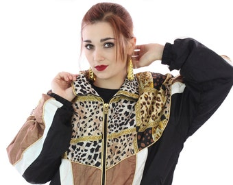 90s Leopard Jacket Vintage Windbreaker Hip Hop Gold Workout Coat 80s Animal Cheetah Big Cats Medium M Small S