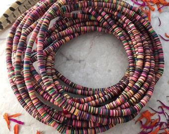 "6mm Pastel Multi Color African Vinyl Beads, Vinyl Record Beads, 32"" strand, Vintage African Trade Beads, African Vinyl Disc Beads, Heishi"