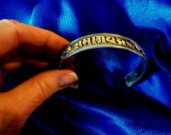 Om Mani Padme Hum mantra cuff bracelet 925 silver