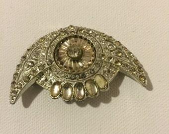 Art Deco Brooch, Vintage Early Mid Century Modern Rhinestone Brooch, Costume Jewelry, 1920s Art Deco Vintage Rhinestone Brooch on SALE