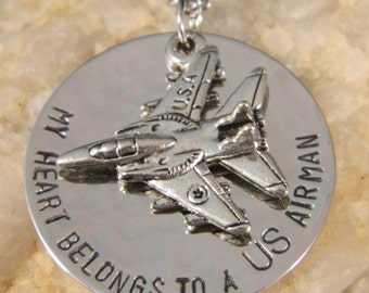 My Heart Belongs to a US Airman Handstamped Necklace with Fighter Jet