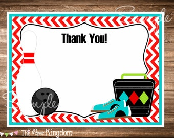 Bowling Party Thank You Cards, INSTANT Download, Bowling Birthday Party, Printable Thank You Cards, Boys Bowling Birthday