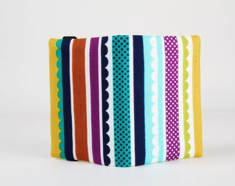 Fabric card holder - Carnival stripes / Fox woods / Lime green teal violet turquoise / Michael Miller fabrics