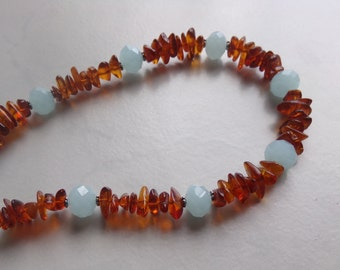 Amber Necklace With Ice Blue Faceted Crystal  Beads
