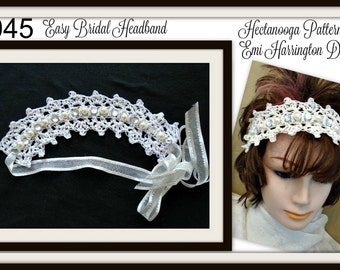 BRIDAL HEADBAND, DIY Crochet Pattern, Pearls and Rhinestones, One size fits all, Easy pattern to make, #1045