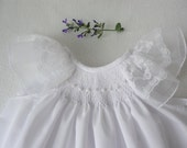 READY TO SHIP Smocked Baby Dress, Smocked Christening dress, Hand smocked christening gown / Baptismal Dress Sizes 0-3 mos and 3-6 mos only