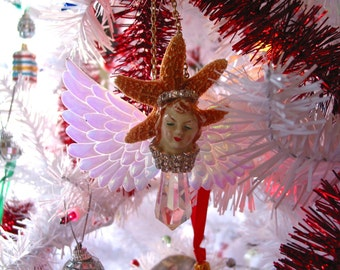 Vintage Christmas Ornament Assemblage art doll Angel mixed media encrusted vintage rhinestones Bisque doll ART Christmas crystal