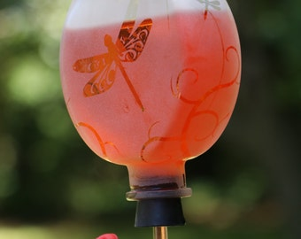 Round frosted Dragonfly Garden bottle Hummingbird feeder
