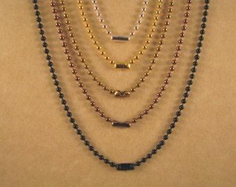 36 Inch 2.4 mm Chain, Ball Chain Necklace, Silver Ball Chain, Gold Ball Chain, Antique Gold Chain, Antique Copper Chain, Black Ball Chain