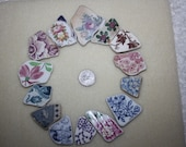 FANTASTIC BEACH POTTERY Shards Awesome Pendent Size Beauties In Rare Beautiful Bright Colors And Patterns  zy113