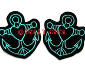 Anchor patch Pair of in Turquoise (more and custom colors available)