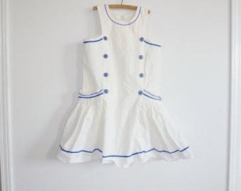 SALE // Vintage Cream and Blue Nautical Dress