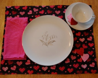 Set of 6 Valentine's Day Placemats--Sparkle Heart