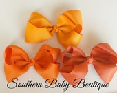 INVENTORY BLOWOUT SALE----Simple X-Large 5.5 Inch Hair Bow 3 Piece Set----Orange----