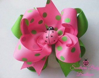 Mini Boutique Doubled Layered Hair Bow Clip----Hot Pink and Lime Green---Lady Bug-