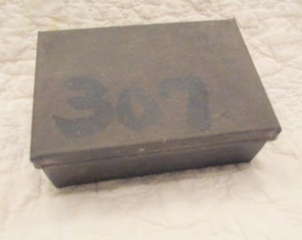 Antique Tin Storage Box from Old Industrial Mill