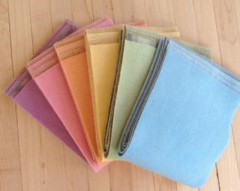 """Hand Dyed Wool Felt, SPRING,  24 pieces in Soft Pastels, 6.5"""" x 16"""" each, Perfect for Rug Hooking, Applique' and Crafting"""