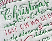 50 Hand Drawn Letterpress Christmas Card with Charles Dickens Quote in Red and Green