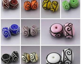 Lampwork Beads Scrollwork Rondelle Pair - Black Blue Purple Ivory Pink Sienna Orange Yellow White Green Red Handmade by Heather Behrendt SRA