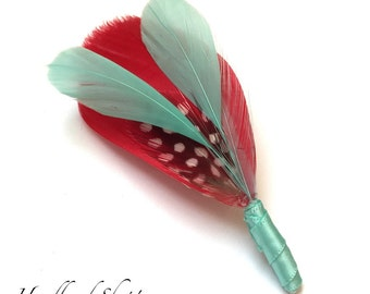 Ready to Ship - GENEVA  - Red & Aqua Feather Boutonniere Lapel Pin with Black and White Feather Accents