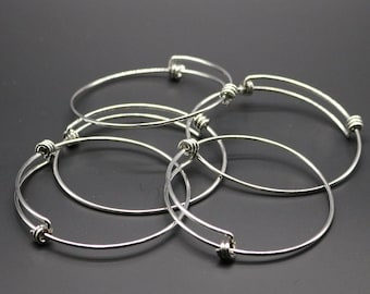 5 pcs of Stainless Steel Bangle Bracelet - 65mmx63mm 1.6mm thickness - Stainless Steel - Wire Bangles - Charm Bracelet - Expandable