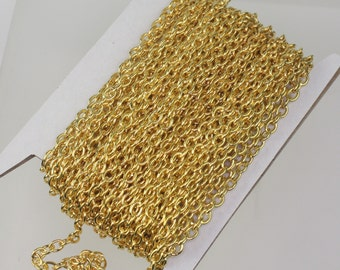 32 ft of Gold Plated Sturdy Heavy Cable Chain - 4x5mm 1.0mm 18Gauge Unsoldered Link