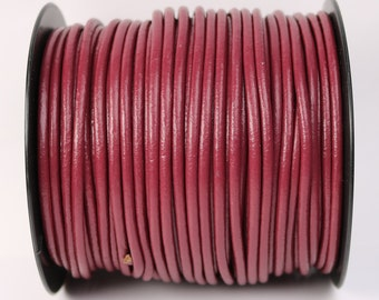 5 feet Fuchsia Pink Leather Cord - 3mm Genuine Leather Round Cord - USA Seller