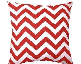Chevron Red Outdoor Decorative Throw Pillow - Red and White Zig Zag - Free Shipping