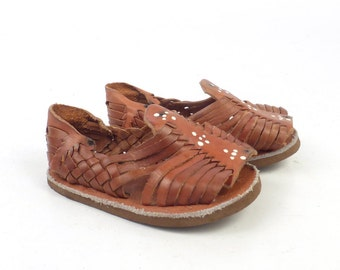 Huaraches Sandals Vintage 1980s Brown Woven Leather Sandals Kid's Infant Toddler