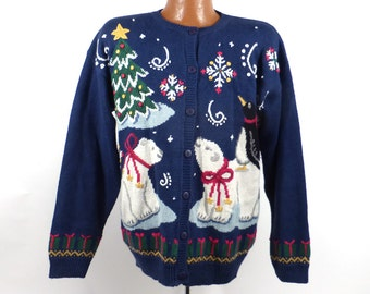 Ugly Christmas Sweater Vintage Cardigan Holiday Tacky Women's size L