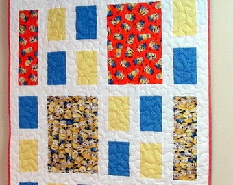 Small Yellow Orange Blue and Yellow Minion Quilt