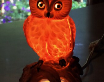 Owl on Apple Tree perch LAMP perfume diffuser vintage ceramic night light