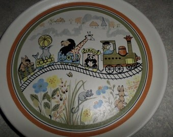 Child or baby Safari Plate by Denby Pottery England circus animals on train ride