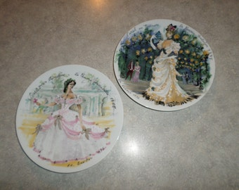 2 D'Arceau Limoges PLATE Ladies of the 19th Century Sarah en Tournure 1875 & Scarlet Crinoline