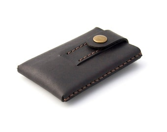 "Minimalist Leather Wallet - Cardholder -""Slide""- Hand Stitched - Hand Dyed Dark Brown - FREE SHIPPING"