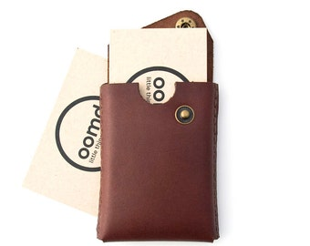 Minimalist Leather Card Case - The 'Card trick' - Hand Dyed Rich Brown - Hand Stitched - FREE SHIPPING