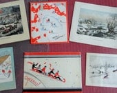 RESERVED Skaters Toboggans and A Skier Round this Lot of Earlier Greetings in Vintage Christmas Card Lot No 766