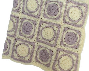 Baby Blanket Pale Yellow and Taupe Square Blanket Motif Throw