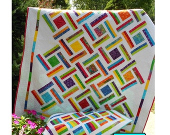 Double Strip Trip Quilt Kit with Pattern -  by Little Louise Designs - Beautiful Bright Jelly Bean Batiks from Timeless Treasures